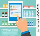 hand pharmacist hands holding... | Shutterstock .eps vector #604065176