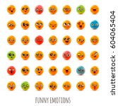 emotions. set of smiley face... | Shutterstock .eps vector #604065404
