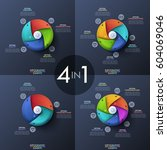 bundle of four infographic... | Shutterstock .eps vector #604069046
