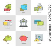 conceptual icon set flat design.... | Shutterstock .eps vector #604071710