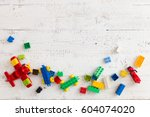 top view on colorful toy bricks ... | Shutterstock . vector #604074020