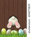 easter motive  white bunny... | Shutterstock .eps vector #604075829