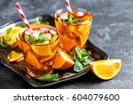 homemade flavored orange iced...   Shutterstock . vector #604079600