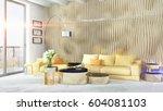 modern bright interior . 3d... | Shutterstock . vector #604081103