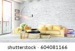 modern bright interior . 3d... | Shutterstock . vector #604081166