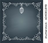 easter frame with hand drawn... | Shutterstock .eps vector #604081898