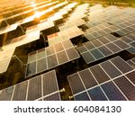 beautiful sunset over solar... | Shutterstock . vector #604084130