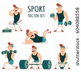 man doing fitness exercises... | Shutterstock .eps vector #604088558