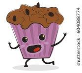 cute comic muffin cartoon... | Shutterstock .eps vector #604088774