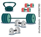 dumbbells  weight and barbell... | Shutterstock .eps vector #604088780