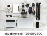 photography accessories on work ... | Shutterstock . vector #604092800