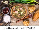homemade lentil soup with... | Shutterstock . vector #604092836