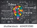 business idea concept   sketch... | Shutterstock . vector #604093580