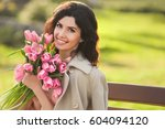 closeup portrait of beautiful... | Shutterstock . vector #604094120