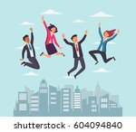 young  happy business people... | Shutterstock .eps vector #604094840