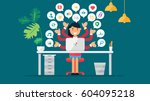 web social network concept for... | Shutterstock .eps vector #604095218