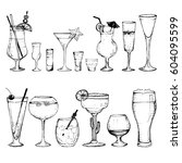 cocktails   set of 15 hand... | Shutterstock .eps vector #604095599
