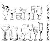 cocktails   set of 14 hand... | Shutterstock .eps vector #604095614