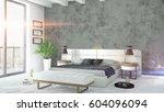 modern bright interior . 3d... | Shutterstock . vector #604096094