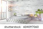 modern bright interior . 3d... | Shutterstock . vector #604097060