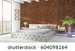 modern bright interior . 3d... | Shutterstock . vector #604098164