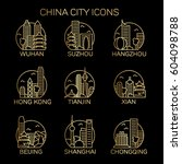 china city icon set. vector