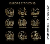 europe city icon set. vector | Shutterstock .eps vector #604098824