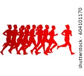 set of silhouettes. runners on... | Shutterstock .eps vector #604101170