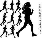 set of silhouettes. runners on... | Shutterstock .eps vector #604101290