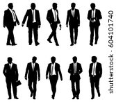 set silhouette businessman man... | Shutterstock .eps vector #604101740