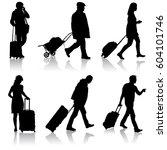 black silhouettes travelers... | Shutterstock .eps vector #604101746