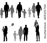 set silhouette of happy family... | Shutterstock .eps vector #604101764