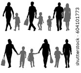 set silhouette of happy family... | Shutterstock .eps vector #604101773