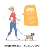 Stock vector a woman is walking with a dog pug woman with a text bubble vector illustration for a magazine 604102199