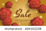sale gold background with red... | Shutterstock .eps vector #604102238