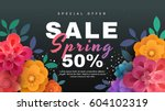 spring sale banner with paper... | Shutterstock .eps vector #604102319