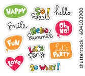 set of vector stickers  patches ... | Shutterstock .eps vector #604103900