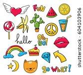 vector set of cool stickers ... | Shutterstock .eps vector #604103906