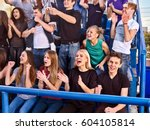 fans cheering in stadium group