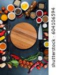 big set of spices  vegetables... | Shutterstock . vector #604106594