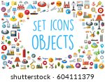 set of web icons in different... | Shutterstock .eps vector #604111379