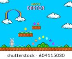 happy easter greeting card.... | Shutterstock .eps vector #604115030