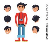 hipster with camera cartoon...   Shutterstock .eps vector #604117970