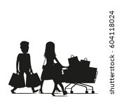 family making holiday purchases ... | Shutterstock .eps vector #604118024
