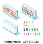 milky food in shop showcase... | Shutterstock .eps vector #604118030