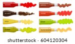 set glass bottles with hot... | Shutterstock .eps vector #604120304
