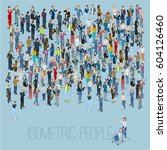 people crowd. isometric vector... | Shutterstock .eps vector #604126460
