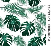 tropical palm leaves. jungle...   Shutterstock .eps vector #604131488