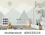 mock up wall in child room... | Shutterstock . vector #604133114