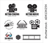 Retro Cinema Labels Badges...